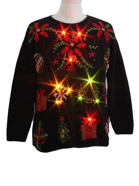 lightup ugly christmas sweater kathie lee unisex black