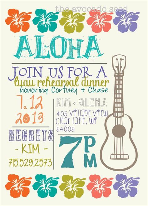 luau wedding invitations luau wedding shower wedding rehearsal invitation diy or