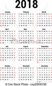 Japan Calendario 2018 Eps Vectors Of Calendar 2018 Simple Calendar For 2018