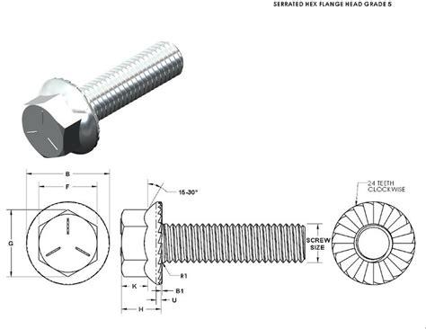bolt detail drawing serrated hex flange head bolt 3d cad model library grabcad