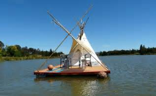 Homemade Portable Duck Blind Plans Student Builds Floating Teepee House On Homemade Raft