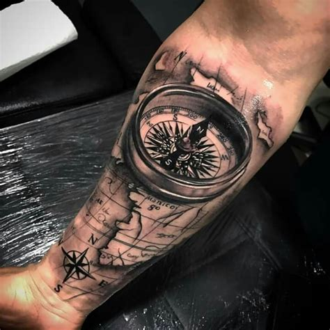 arm tattoo experience compass map tatoo pinterest kompass tattoo ideen