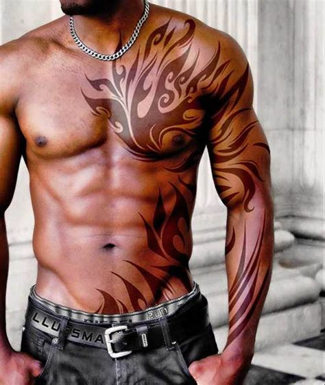 tribal chest to arm tattoo shoulder tattoos for tattoofanblog