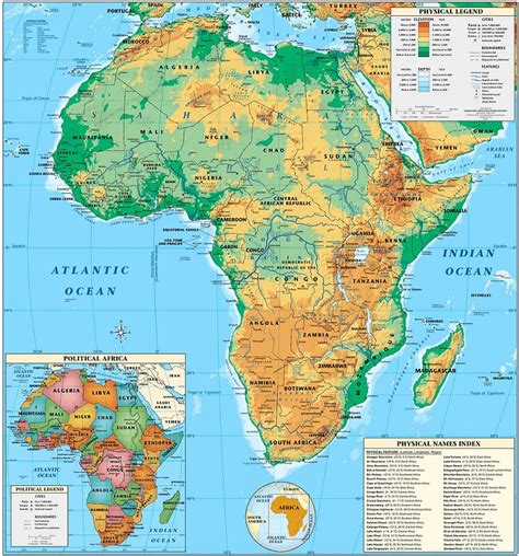 physical map of map of africa physical picture