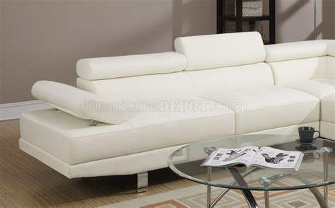 off white sectional f7320 sectional sofa by boss in off white leatherette