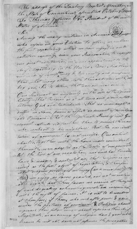 Explanation Of Jefferson S Letter To The Danbury Baptists Letter From Jefferson To The Danbury Baptists