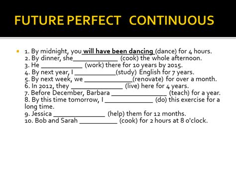 Pattern Of Present Progressive Tense | pattern of future perfect continuous tense simple verb