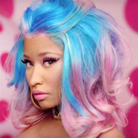 Nicki Minaj Hairstyle by Nicki Minaj Wavy Blue Pink Pompadour Two Tone Uneven