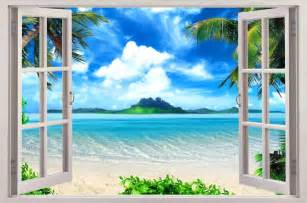 Beach Wall Mural Exotic Beach View 3d Window Decal Wall Sticker Home Decor