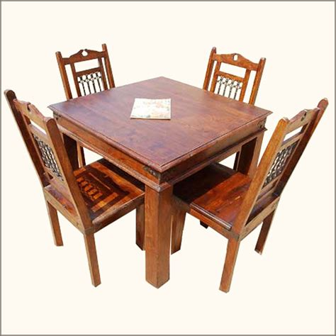 5pc solid wood dining room table and 4 chairs set
