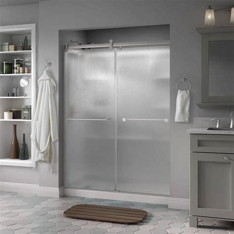 Shower Doors Ta Delta Crestfield 60 In X 71 In Semi Frameless Contemporary Sliding Shower Door In Nickel With