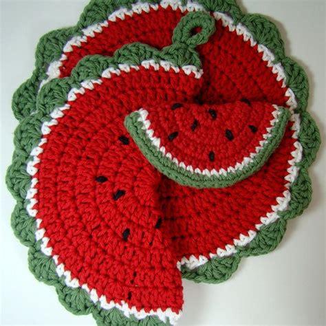 pattern for dishcloth holder crochet watermelon pot holder dishcloth magnet by