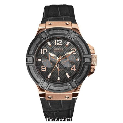 Guess Merica Rosegold Limited new guess for black gold tone croco black leather u0040g5 ebay