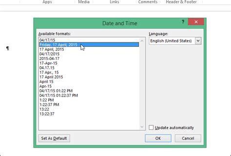 format waktu cara mengatur format tanggal dan waktu default di word