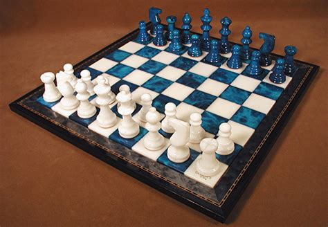 white chess set alabaster chess set blue and white with wood frame