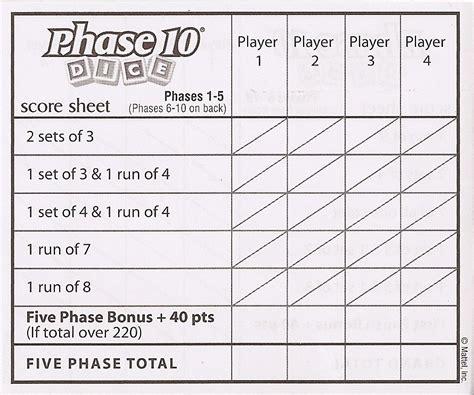 printable phase 10 dice score sheet eagles rest throw away the scorecard
