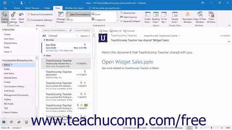 outlook layout email preview outlook 2016 tutorial changing the inbox view microsoft