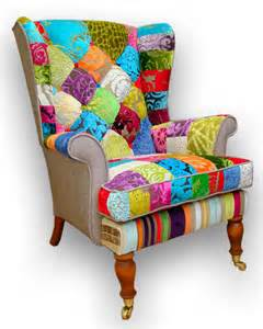 Inflatable Armchairs Patchwork Wing Back Armchair In Designers Guild Velvets And