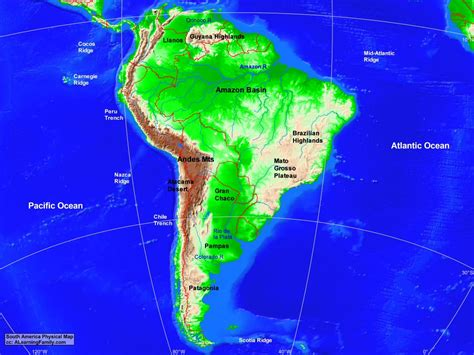 south america map bodies of water south america physical map a learning family