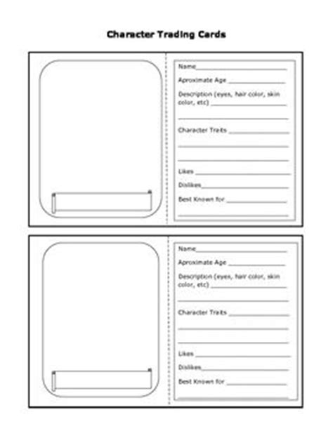 author trading card template get to the characters in the book a better