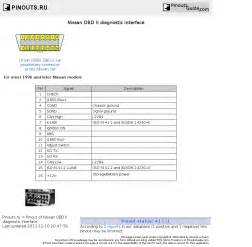 nissan obd ii diagnostic interface pinout diagram pinoutguide