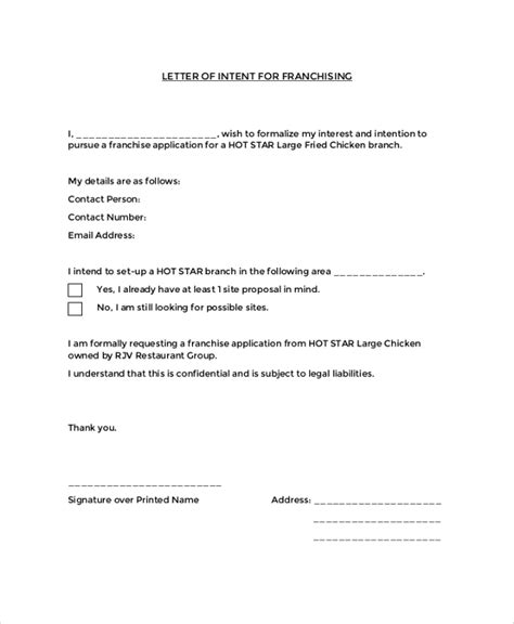 Letter Of Intent Sle To Franchise how do you write a letter of intent to franchise business