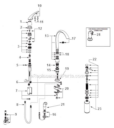 Replacement Parts For Kitchen Faucets moen 7730v parts list and diagram ereplacementparts com