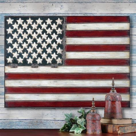 american flag folk metal wall panel americana 3