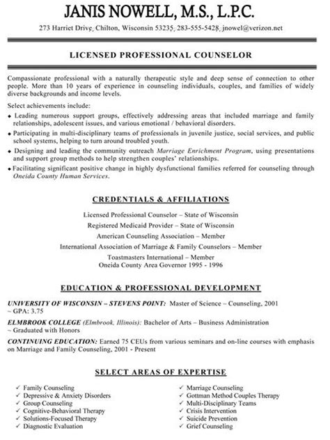 Counseling Resume Exles by Sle Counselor Resume Jennywashere