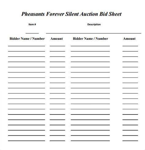 auction template silent auction bid sheet template 17 free