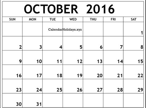 quot october 2016 calendar word template quot calendarholidays xyz