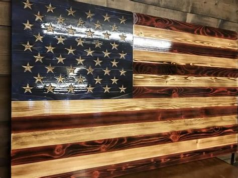 hand carved charred american traditional  rustic flag