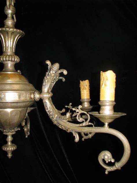 Ch35 Unique 19 Century Italian Silvered Bronze 6 Light Coolest Chandeliers