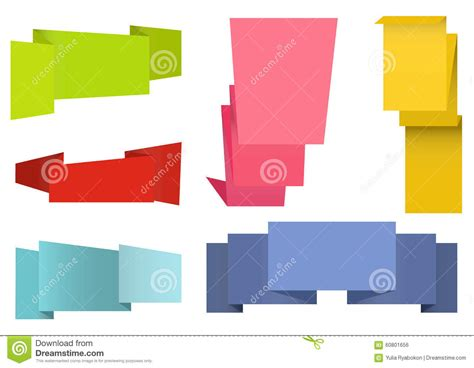 Origami Set For - origami labels set stock vector image 60801656