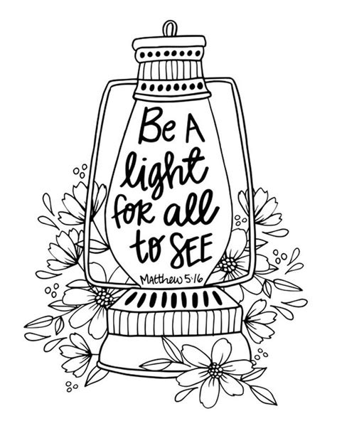 Coloring Page Matthew 5 by Be A Light Matthew 5 16 Coloring Canvas Canvas On