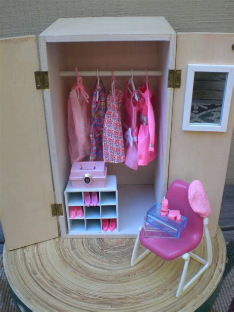 dolls house wardrobe barbie doll house pink wardrobe vignette room furniture