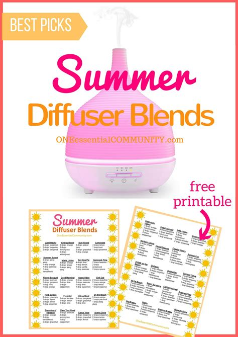 printable essential oil recipes 25 of the best summer essential oil diffuser recipes