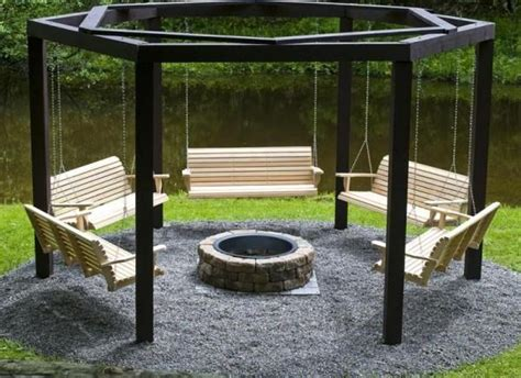 hexagon fire pit swing hexagon swing pergola with fire pit outdoor pinterest