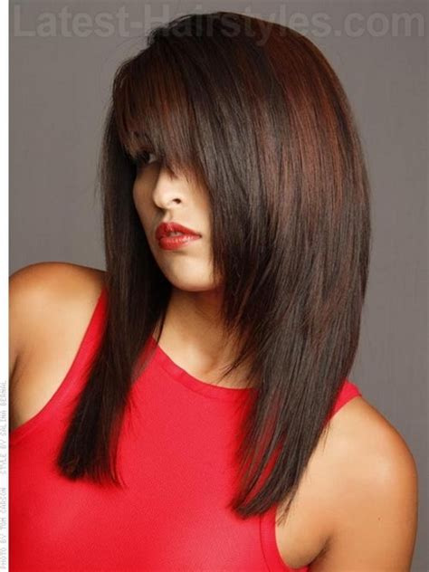 hairstyles for long hair straight bangs layered straight haircuts