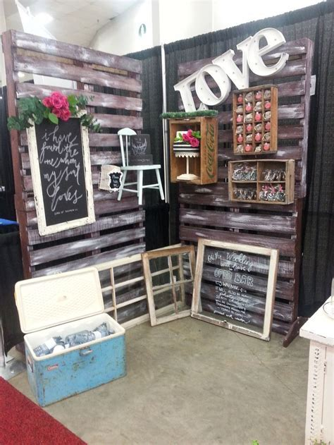 trade show booth, wedding show ,rustic decor, vintage