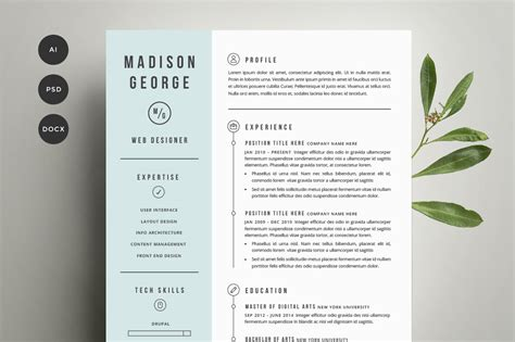 Creative Resume Template by Resume Cover Letter Template Resume Templates On Creative Market
