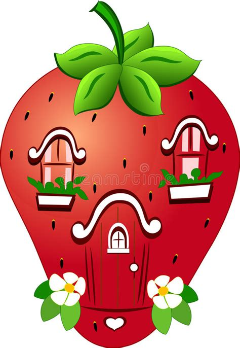 small cartoon house illustration shows done style isolated fabulous strawberry house stock vector illustration of