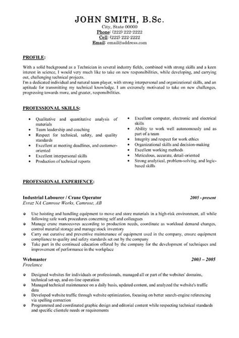 Resume Templates Sles by Tradesman Resume Template 28 Images 17 Images About