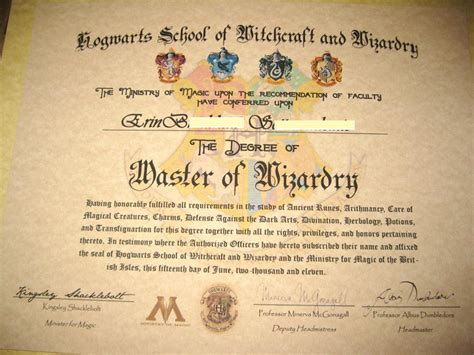 Hogwarts Certificate Template harry potter diploma kooky crafts harry