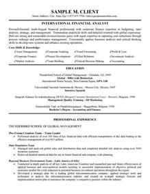 Sample Resume Financial Analyst international financial analyst resume