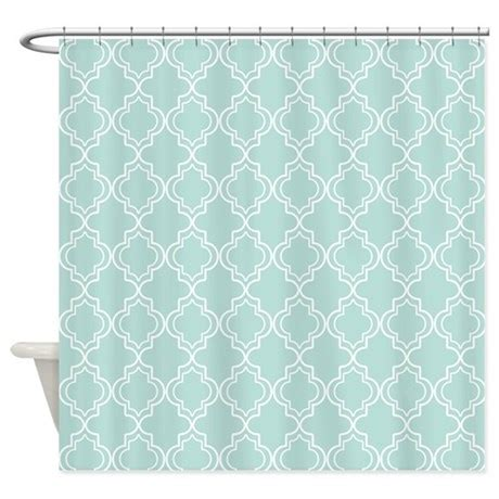 Teal Colored Shower Curtains by Light Teal Moroccan Quatrefoil Shower Curtain By Hhtrendyhome