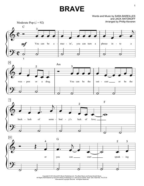 printable brave lyrics brave sheet music direct