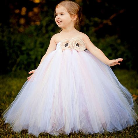 Dress Tutu White Blue Flower 4 6 Th Include Headbandgelangcincin white vintage handmade tulle flower dress princess costume children prom wedding