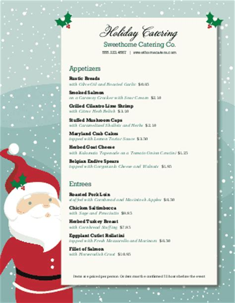 christmas dinner catering menu letter christmas menus
