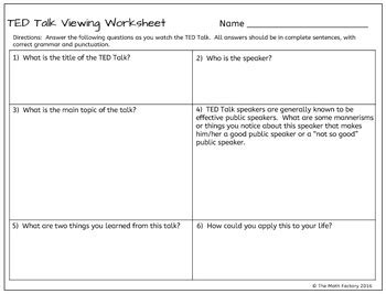 Ted Talk Follow Along Viewing Worksheet By The Math Factory Tpt Ted Talk Presentation Template